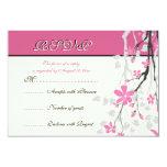 Magnolia branch pink wedding RSVP card Invitations