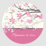 Magnolia branch pink wedding Save the Date sticker