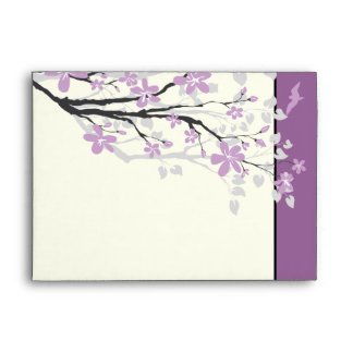 Magnolia branch purple flowers wedding envelope