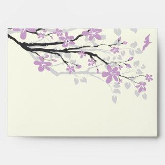 Magnolia branch purple flowers wedding envelope