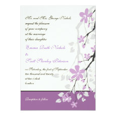 Magnolia branch purple flowers wedding invitation 5