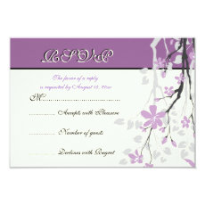 Magnolia branch purple flowers wedding RSVP card 3.5