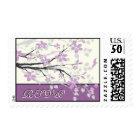 Magnolia branch purple wedding custom RSVP stamp