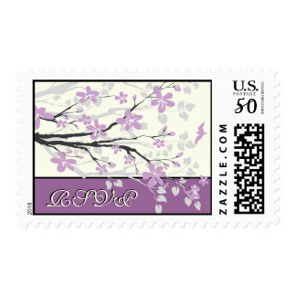 Magnolia branch purple wedding custom RSVP stamp