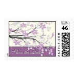 Magnolia branch purple wedding Save the Date stamp