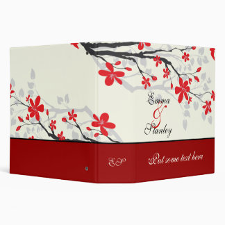 Magnolia branch red wedding custom binder