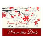 Magnolia branch red wedding custom Save the Date Postcard