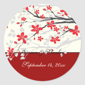 Magnolia branch red wedding Save the Date sticker