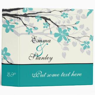 Magnolia branch turquoise wedding custom binder binders