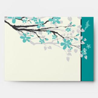 Magnolia branch turquoise wedding envelope