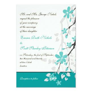 Magnolia branch turquoise wedding invitation
