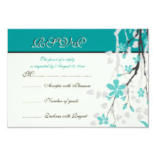 Magnolia branch turquoise wedding RSVP card