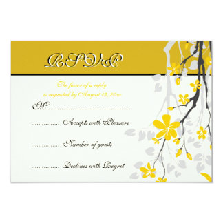"Magnolia branch yellow flowers wedding RSVP card 3.5"" X 5"" Invitation Card"