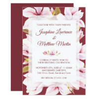 Magnolia Burgundy Floral Wedding Invitations