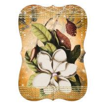 Magnolia color de rosa del boda del oro debajo de