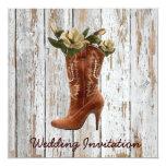 "Magnolia Cowboy Rustic Country  Wedding Invitation 5.25"" Square Invitation Card"
