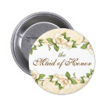 Magnolia- Damask Bridal Party Button