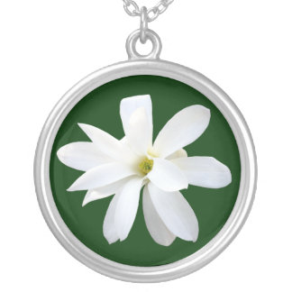 Magnolia - Dark Green Silver Plated Necklace