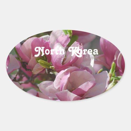 Magnolia de Corea del Norte Calcomania Ovalada
