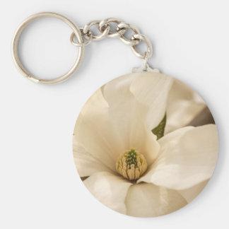 Magnolia de la bola de nieve llavero personalizado