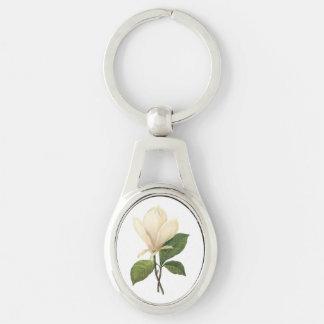 magnolia de platillo (soulangiana de la magnolia) llavero plateado ovalado