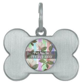 Magnolia del vintage floral en las tiras de color placas de mascota