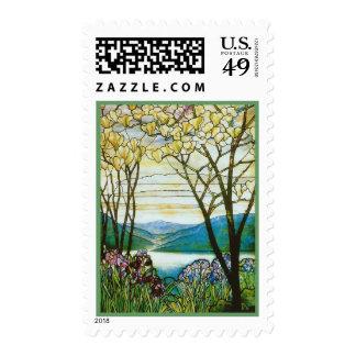 Magnolia e iris por Tiffany Sellos Postales