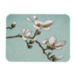 Magnolia floral del vintage azul del trullo imanes de vinilo