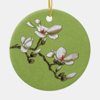 Magnolia floral del vintage de la verde lima adorno navideño redondo de cerámica