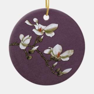 Magnolia floral del vintage púrpura adorno navideño redondo de cerámica