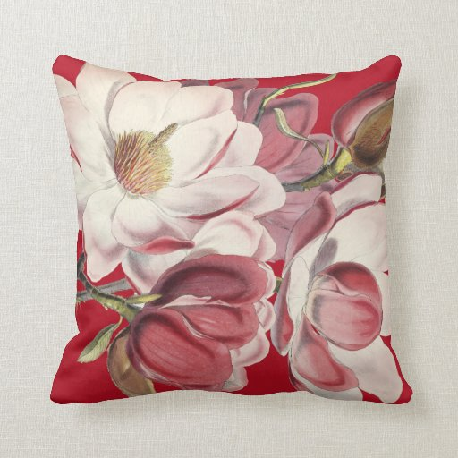 Throw Pillows With Large Flowers : Magnolia Floral Garden Flowers Throw Pillow Zazzle