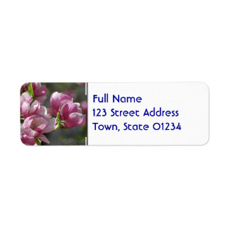 Magnolia floreciente etiquetas de remite