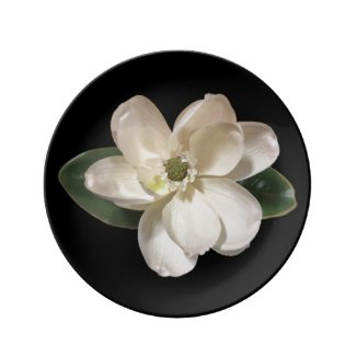 Magnolia Flower accent Porcelain Dinner Plate