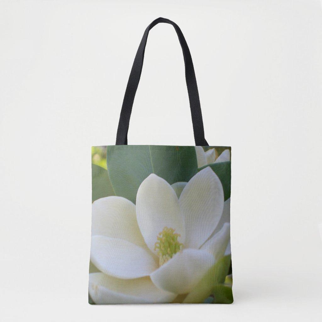 Magnolia Flower Blossom Tote Bag Gift for Her