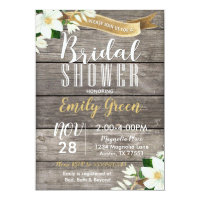Magnolia Flower Bridal Shower Invitation Rustic