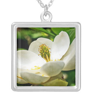 Magnolia Flower Close Up Silver Plated Necklace