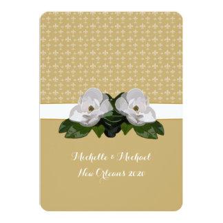 Magnolia Flower Fleur de Lis Wedding Card