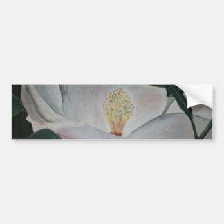 magnolia flower oil painting car bumper sticker