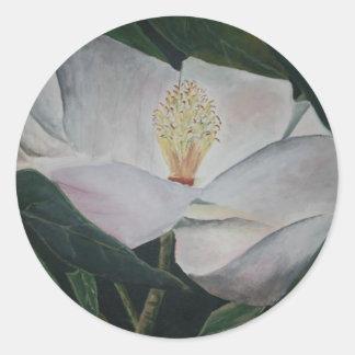 magnolia flower oil painting round sticker