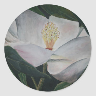 magnolia flower oil painting classic round sticker