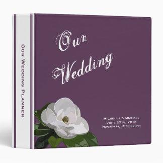 Magnolia Flower On Purple Wedding Planner Binder