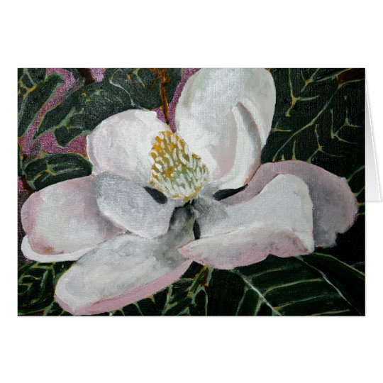magnolia flower painting acrylic wall art card