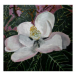 magnolia flower painting acrylic wall art poster