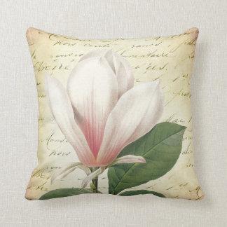 Magnolia Flower Vintage Botanical Throw Pillow