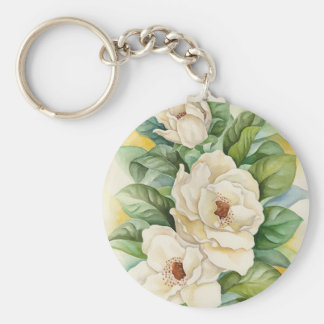 Magnolia Flower Watercolor Art - Multi Key Chain