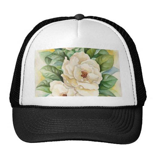 Magnolia Flower Watercolor Art - Multi Mesh Hats