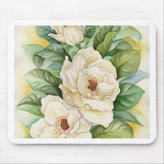 Magnolia Flower Watercolor Art - Multi mousepad
