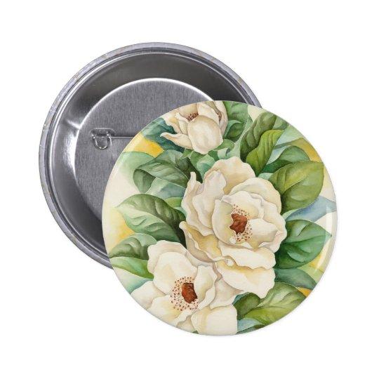 Magnolia Flower Watercolor Art - Multi Pinback Button