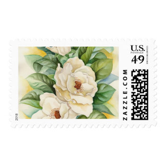Magnolia Flower Watercolor Painting Postage Stamp