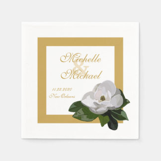Magnolia Flower Wedding Event Paper Napkin